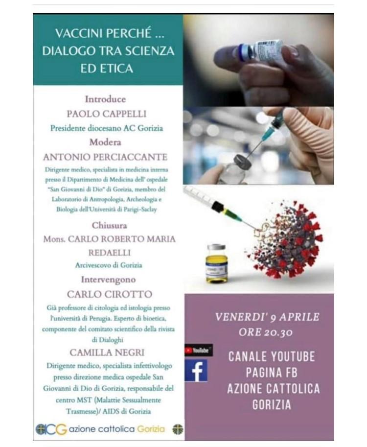VACCINI PERCHE'…DIALOGO TRA SCIENZA ED ETICA – VENERDì 9 APRILE ORE 20.30